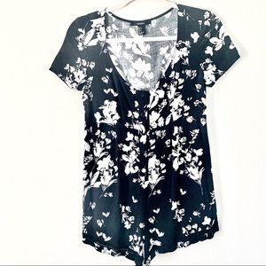 Forever 21 Floral Black and White Romper Small